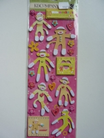 5907- K&Co Berry Sweet chipboard stickers monkeys 30x11cm OPRUIMING