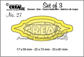 CE115634/0627- Crealies set of 3 - no.27 labels van 1.7 tot 7.3cm