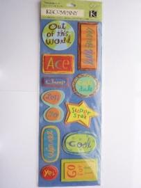 """5603- K&Co grand adh. chipboard 3D stickers """"diverse teksten aanmoediging"""" 30x12cm"""