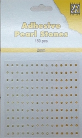 CE142010/2204- 150 stuks zelfklevende halfronde parels van 2mm geel tinten
