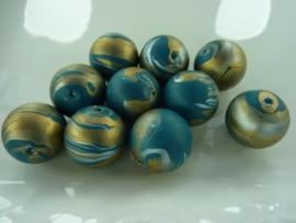 00013- 10 stuks kunststof kralen van 15mm gemarmerd goud/turquoise