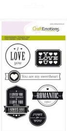 CE130501/1123- Craft Emotions clearstamps A6 Love teksten