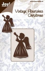 JOY6003/0042- Vintage flourishes vintage cutting stencil engel met trompet 45x65mm