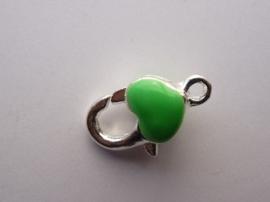 karabijnsluiting met groen hartje 11x19mm verzilverd