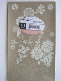 5362- basic grey rub-ons bloemen