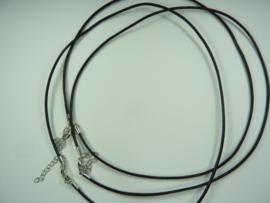 CH.280- 3 stuks halsketting echte leren veter met sluiting - zwart
