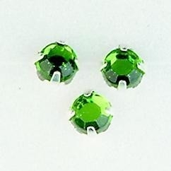 107007/0008- 12 stuks glazen rijg/naai strass steentjes 7mm rond kristal smaragd