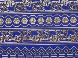 st730- sticker met diverse randjes van 10-15mm breed donker blauw 10x20cm