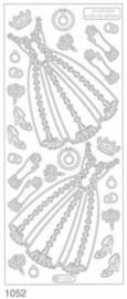 st916- stickervel met (trouw)jurk wit 10x23cm  -  121001/1130