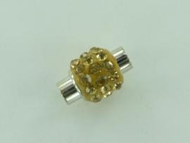 CH.1035 goud- magneetsluiting van 14x10mm goud met strass steentjes