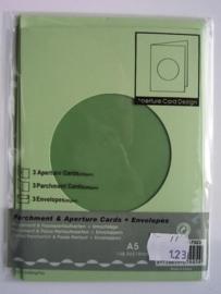000123- 3 x standaard formaat dubbele kaarten + enveloppen groen