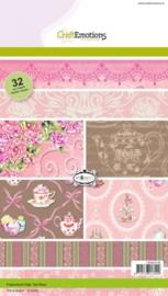CE118040/0106- 32 vel Craft Emotions paper stack high tea rose A5