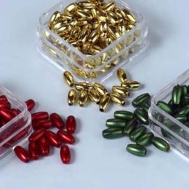 CE460120/0004- 3 doosjes rijstekorrel parels van 6mm - goud/rood/groen