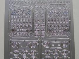 st 115- sticker telefoon front met cijfers zilver 10x20cm