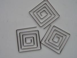 metalen tussenstuk clip vierkant 25x25mm zilver