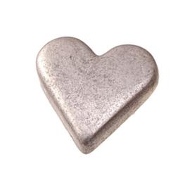 6258 727- 25 stuks snaps eyelets hartjes antiek zilver van 8x10mm