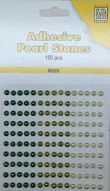 CE142010/2402- 150 stuks zelfklevende halfronde parels van 4mm groen tinten