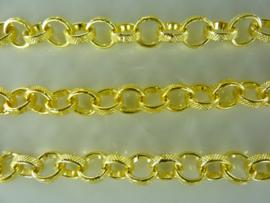 3851 - 1 meter metalen ketting/jasseron van 8 mm. schakels goud