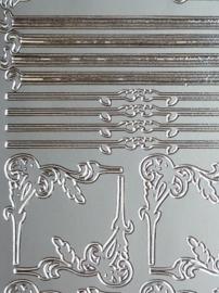 st971- stickervel met sierlijke hoekjes en randjes 10x23cm zilver