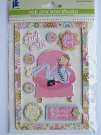 5340- Rob & Bob studio 3D stickers girl talk
