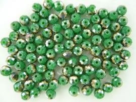 1416- ca. 100 stuks geslepen electroplated glaskralen van 6x4mm middengroen AB