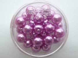 25 x ronde glasparels 8mm roze/paars 2219 759