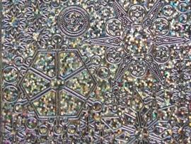 st674- kerst holografische stickers ijskristallen zilver 10x20cm