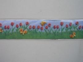 5376- K&Co 3D versierstrips tulpen 2 strips van 5.5x30cm OPRUIMING