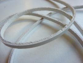 1 meter echt leren platte veter helder wit van 3mm breed  - SUPERLAGE PRIJS!