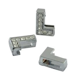 letter L - leerschuiver met strass steentjes zilver 13mm