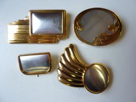 SLK.130.C - 4 stuks zijdebrosches 3 delig goudkleur - OPRUIMING