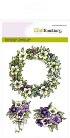 CE130501/1055- Craft Emotions clearstamps A6 bloemenkrans purple holiday