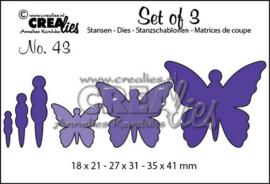 CE115634/0643- Crealies 3 vlinders CLSET43
