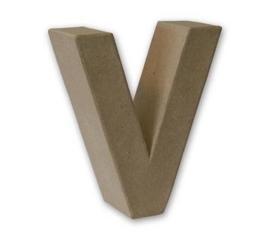 1929 3122- stevige decoratie letter van papier mache - 3D letter V