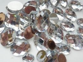 2282 300- 43 x kunststof strass stenen assortiment ovaal van 15 tot 27mm lang zilver