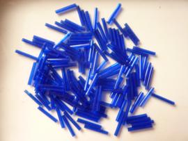 00654- 15mm glazen rocailles stiftjes blauw/paars 10gram OPRUIMING