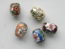1438- 5 x cloissone kralen ovaal 10x13mm diverse kleuren