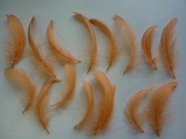 AM.001- 15 stuks veertjes van 6-12cm lang licht oranje OPRUIMING