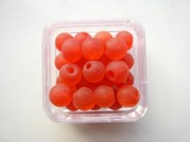 1581- 25 stuks frosted glaskralen van 6mm rood