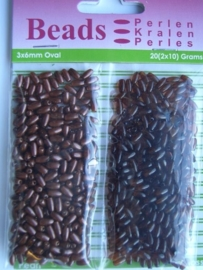 12130/3012- 20 gram ovale kunststof parels 3x6mm donkerbruin en transparant donker bruin