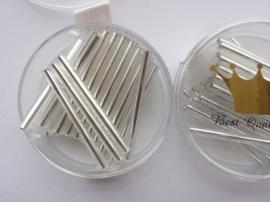 1695- 25mm best quality glazen stiftjes zilver 10gr in luxe doosje