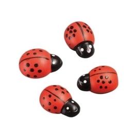 8002 410- 10 stuks bolle houten lieveheersbeestjes van 2.5cm