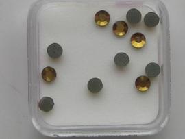 576- 12 x glazen kristalsteentjes plat 3.1mm amber goud OPRUIMING