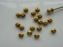 CH.1017- 20 stuks metalen spacers kralen van 5mm goudkleur - SUPERLAGE PRIJS!