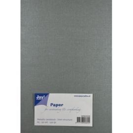 JOY8099/0206- 20 vellen cardstock papier linnen structuur 250grams A5 - metallic zilver