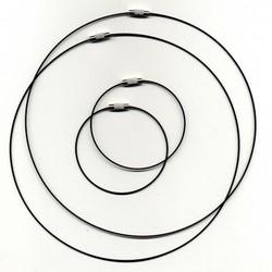 117453/7104- 2 x staaldraad ketting 45cm & 2 x staaldraad armband 18cm zwart