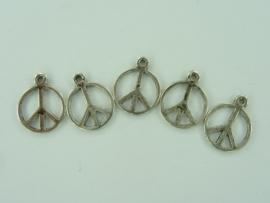 CH.01- 5 stuks hangers/bedels vredesteken 16x12mm staalkleur