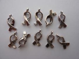 CH5104-10- 10 stuks zwr metalen bedel/hanger Pink Ribbon `hope` oud-zilver 18x7.5mm - EXTRA LAGE PRIJS