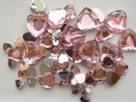 2282 0227- 80 x kunststof strass stenen assortiment hartjes van 8 tot 18mm lang roze