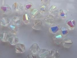 1247- 30 stuks glaskralen bicone 6mm crystal AB - SUPERLAGE PRIJS!